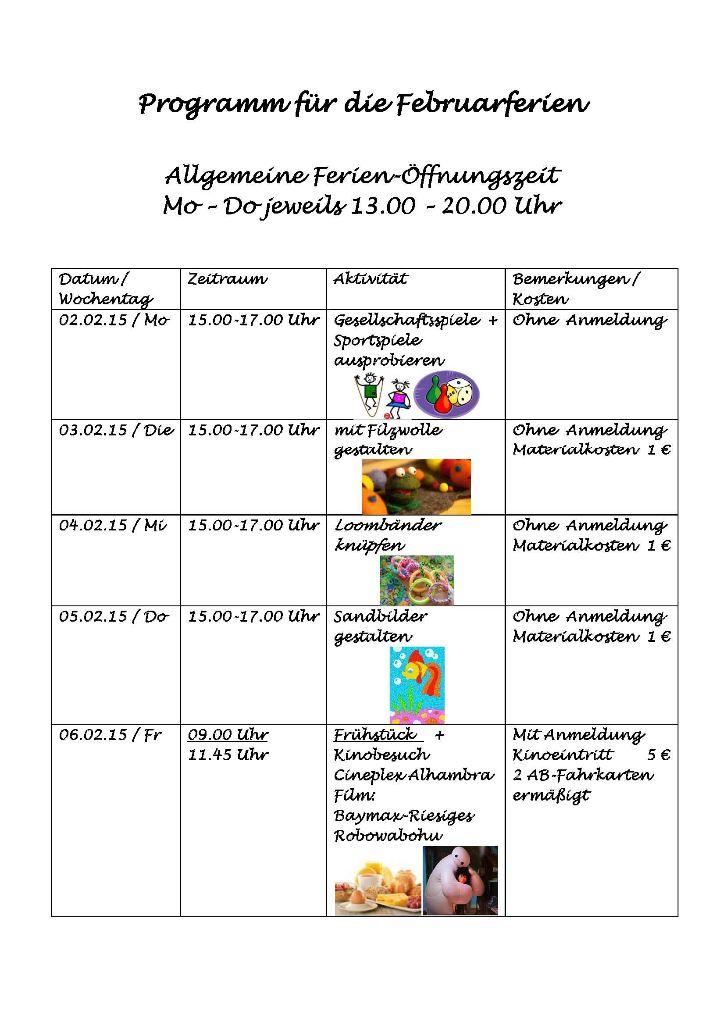 Programm für die Februarferien