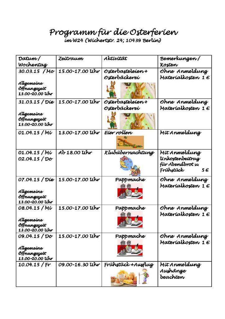 Programm für die Osterferien