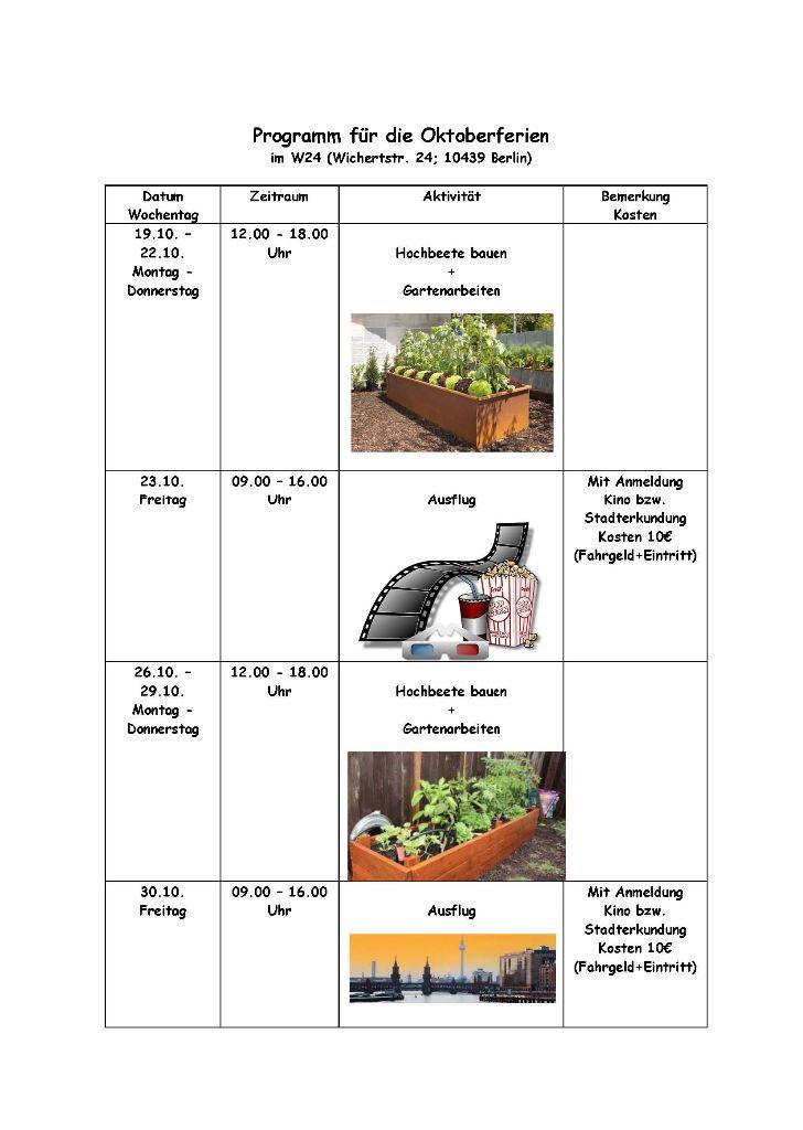 Programm für die Oktoberferien