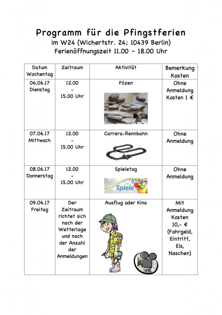 Programm für die Pfingstferien