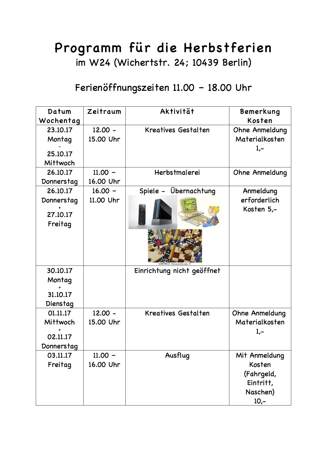 Programm für die Herbstferien