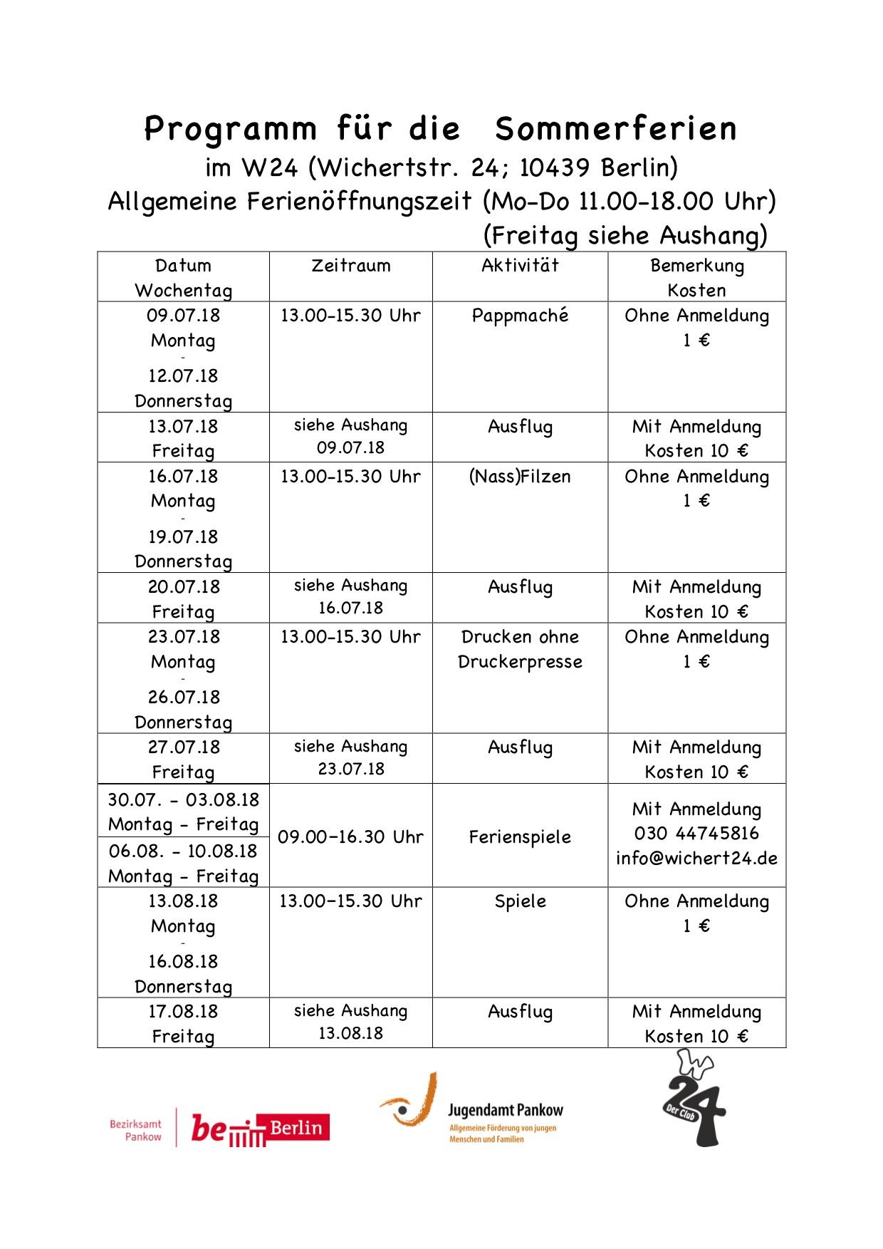 Programm für die Sommerferien