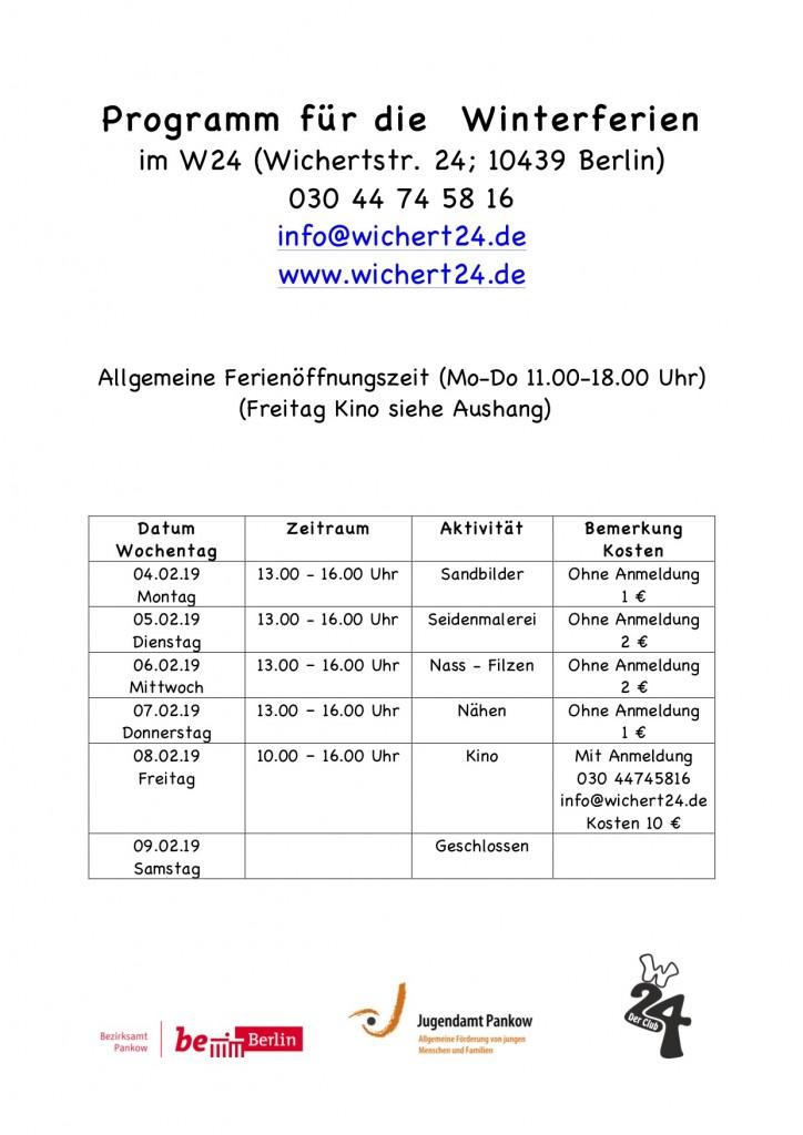Programm für die Winterferien19