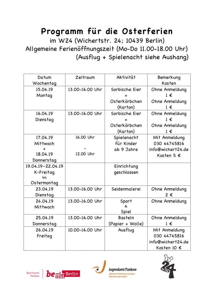 Programm für die Osterferien19