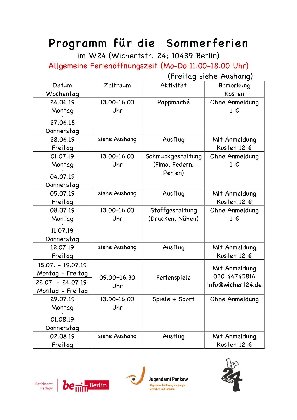 Programm für die Sommerferien2019