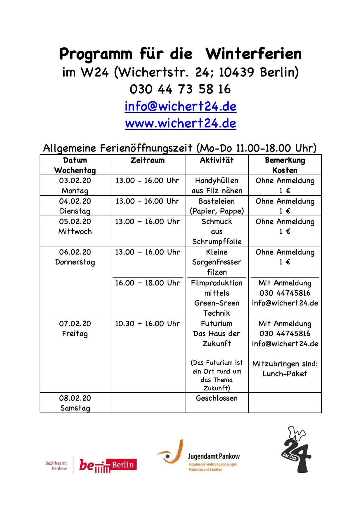 Programm für die Winterferien20