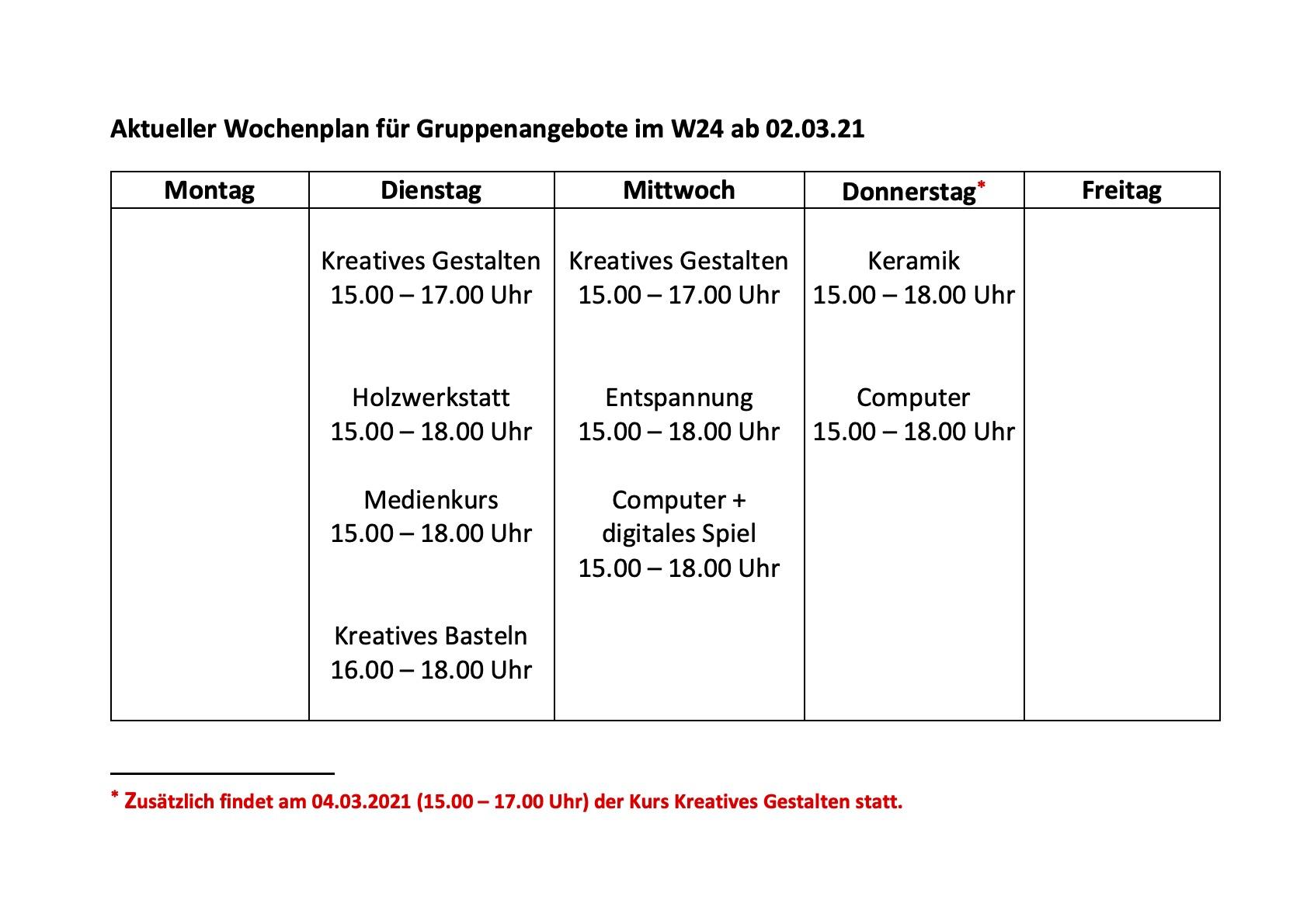 Aktueller Wochenplan für Gruppenangebote im W24